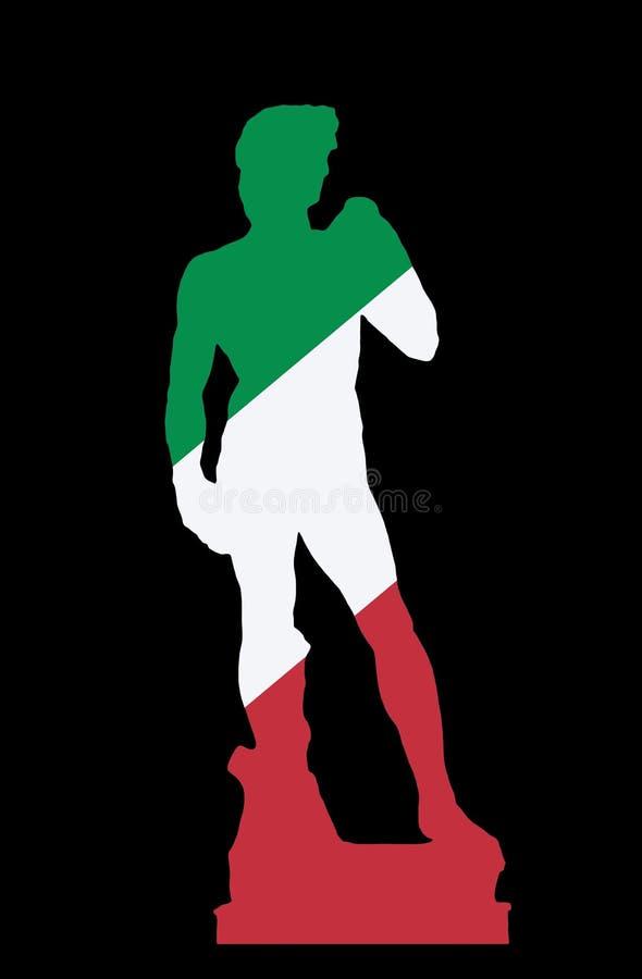 Silhueta da estátua de David, Florença, cores da bandeira italiana ilustração do vetor