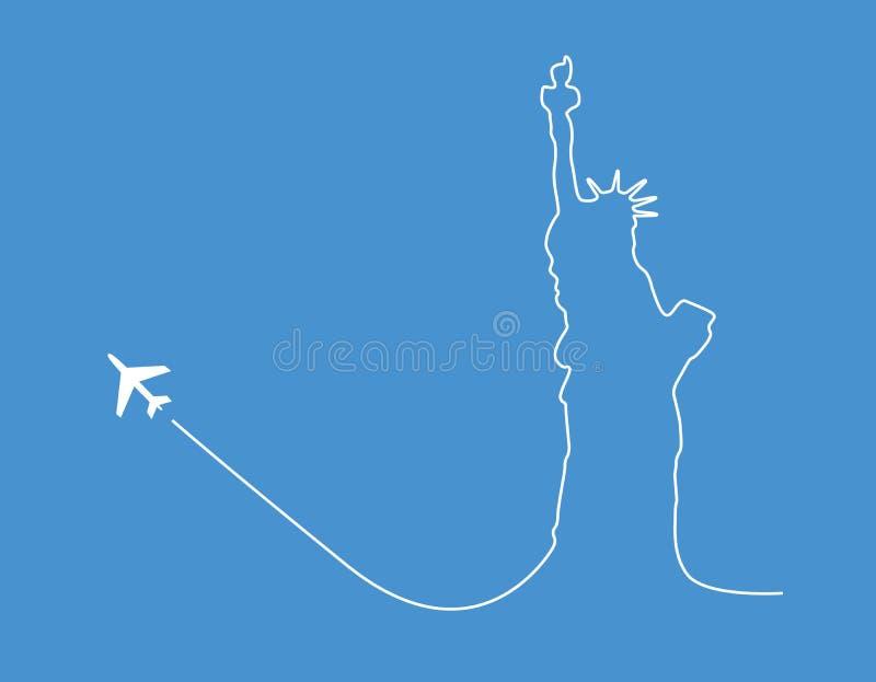 Silhueta da estátua do avião ilustração do vetor