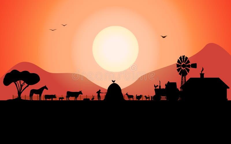 Silhueta da exploração agrícola do vetor com os animais de um rancho ilustração stock