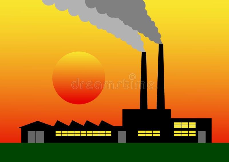 Silhueta da fábrica ilustração stock