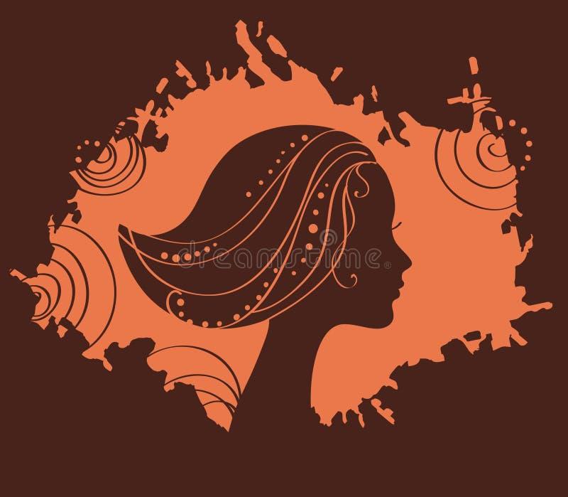Silhueta da face da mulher da beleza ilustração royalty free