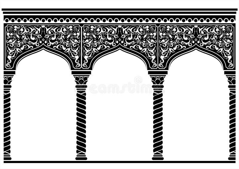 Silhueta da fachada oriental arqueada ilustração stock