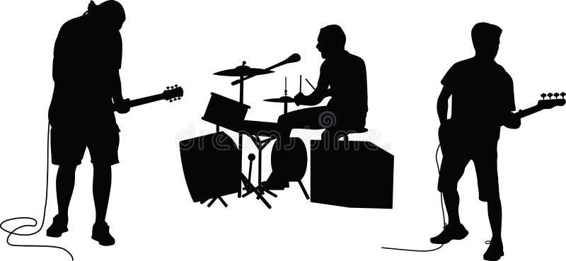 Silhueta da faixa da música ilustração stock