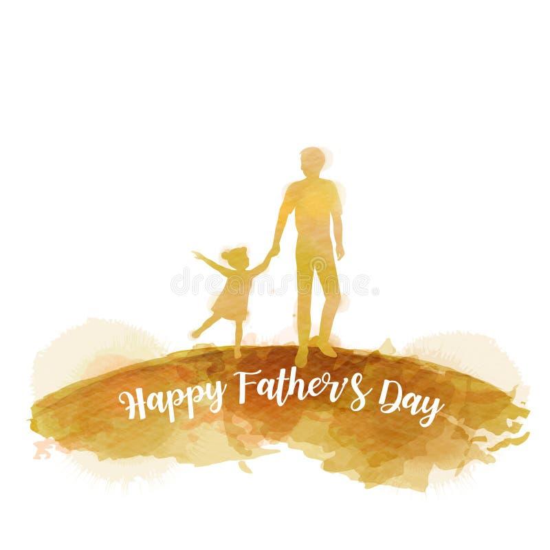 A silhueta da filha da terra arrendada do pai mais a aquarela abstrata pintou Dia feliz do ` s do pai Pintura da arte de Digitas  ilustração stock