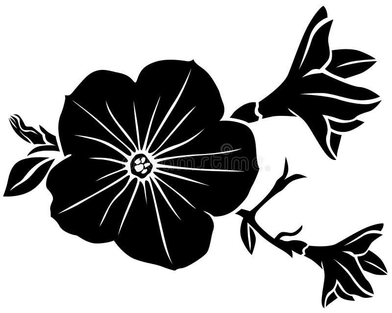 Silhueta da flor do petúnia ilustração stock