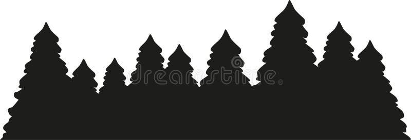 Silhueta da floresta da árvore de abeto ilustração stock