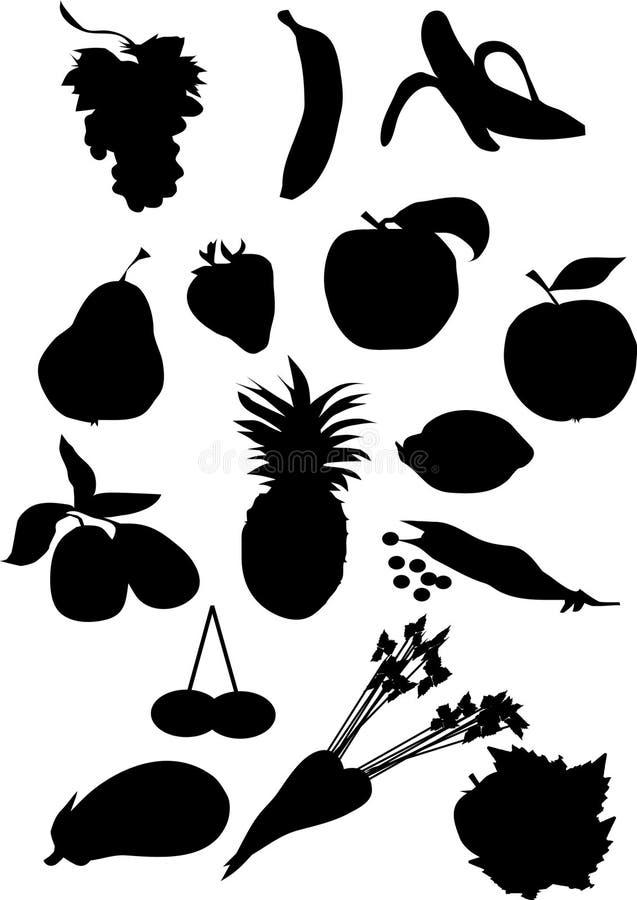 Silhueta da fruta e verdura ilustração stock