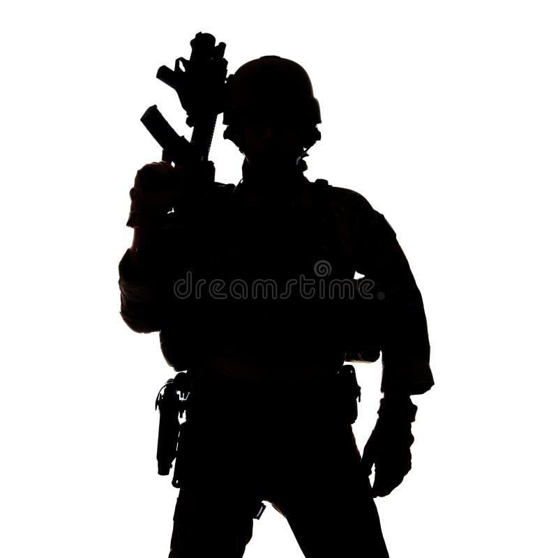 Silhueta da guarda florestal do exército de Estados Unidos imagens de stock
