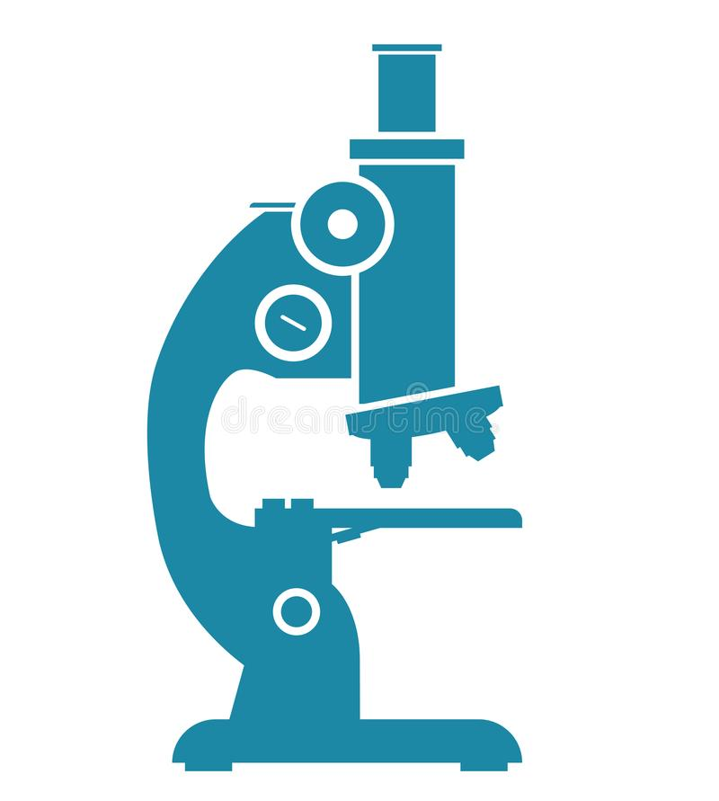 Silhueta da ilustração, ícone azul do microscópio isolado no fundo branco ilustração do vetor