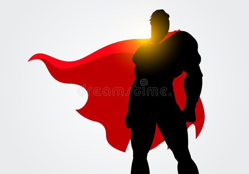 Silhueta da ilustração do vetor de um super-herói com levantamento vermelho do cabo ilustração royalty free