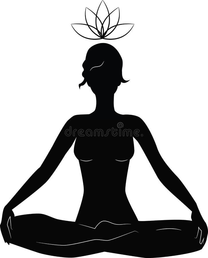Silhueta da ioga praticando da mulher na posição de lótus ilustração stock