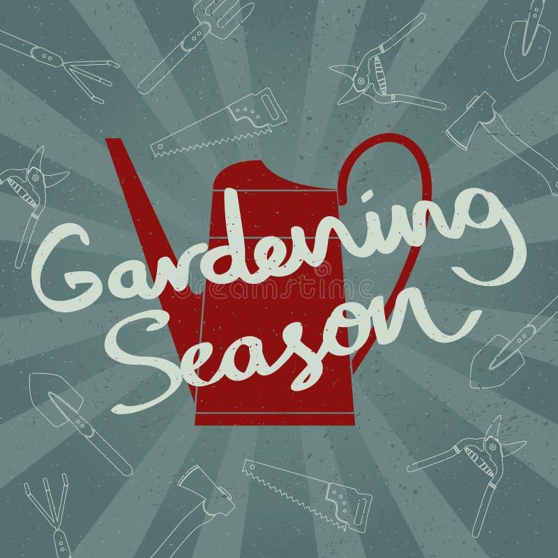 A silhueta da lata molhando do Grunge com mão esboçou a rotulação de jardinagem da estação Ilustração do vetor ilustração do vetor