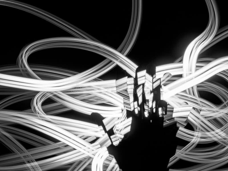 Silhueta da mão contra as linhas claras brancas fundo abstrato Nervos, energia, conceito da meditação Trajeto de incandescência f fotos de stock royalty free