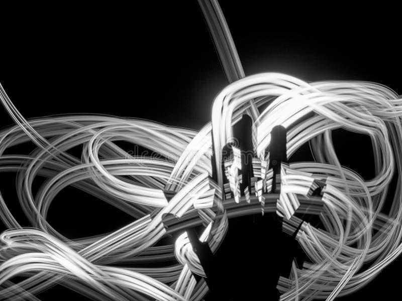 Silhueta da mão contra as linhas claras brancas fundo abstrato Nervos, energia, conceito da meditação Trajeto de incandescência f foto de stock