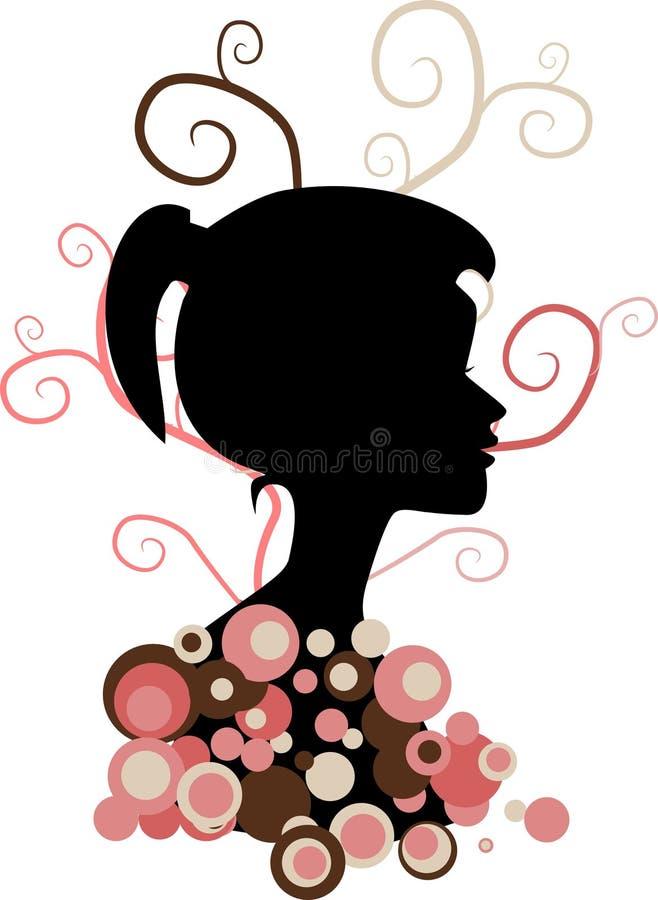 Silhueta da menina ilustração royalty free