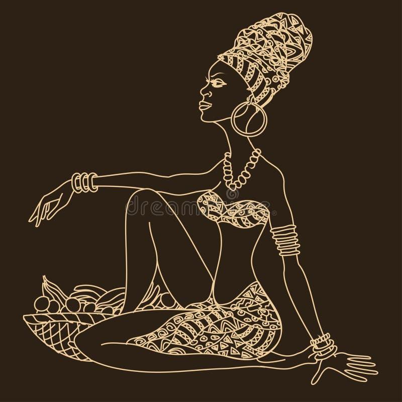 Silhueta da menina africana bonita ilustração stock