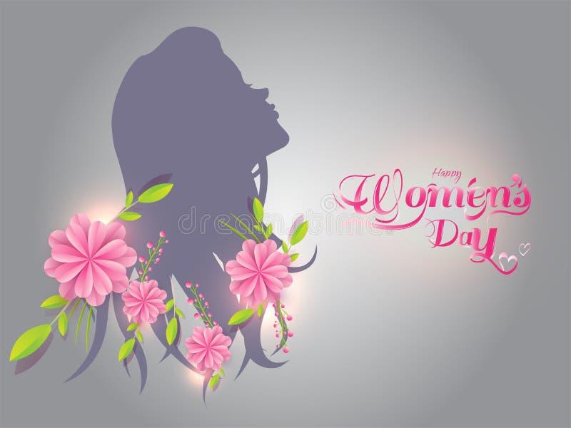 Silhueta da menina com as flores cortadas de papel no fundo cinzento ilustração stock