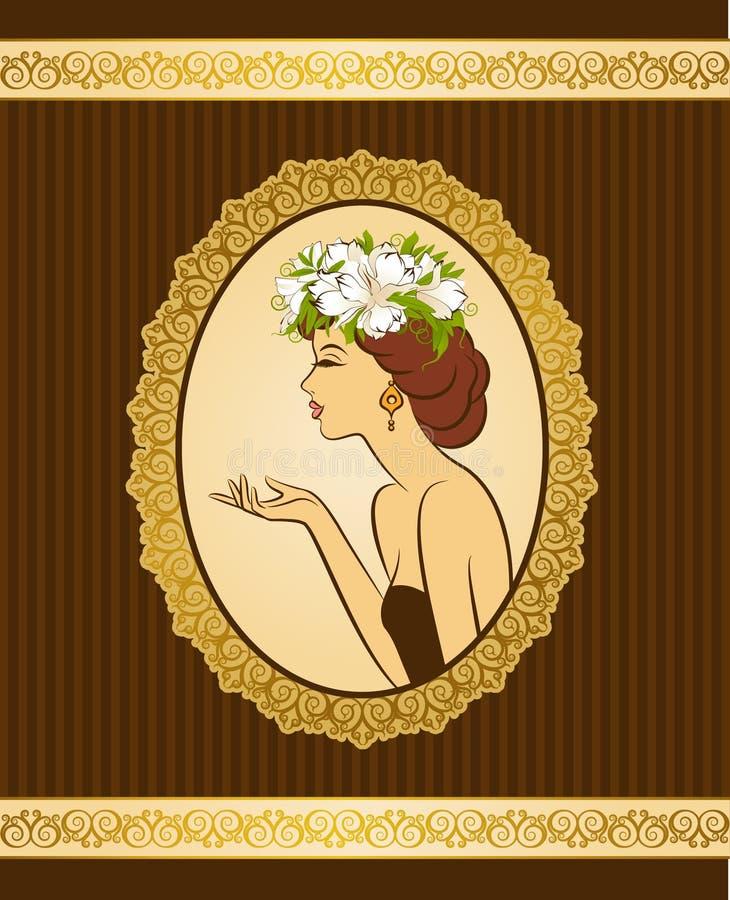 Silhueta da menina com flores ilustração stock