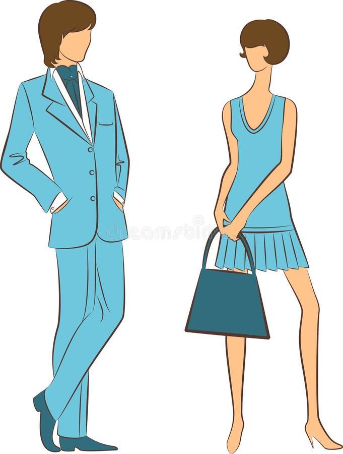 Silhueta da menina com homem. ilustração royalty free