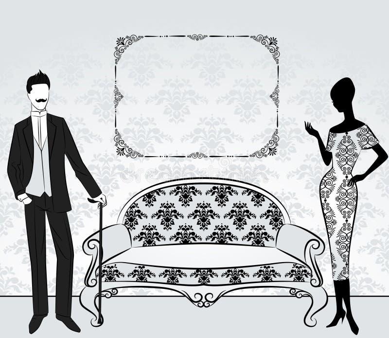Silhueta da menina com homem. ilustração do vetor