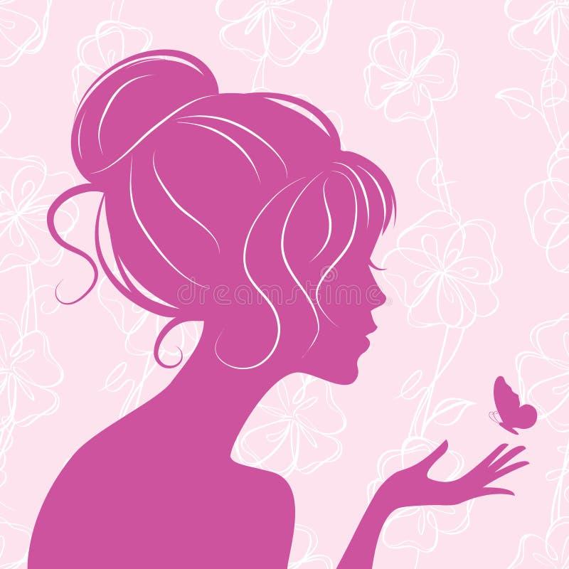 Silhueta da menina da beleza com borboleta ilustração royalty free