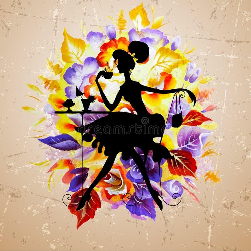 A silhueta da menina da beleza com levantou-se ilustração royalty free