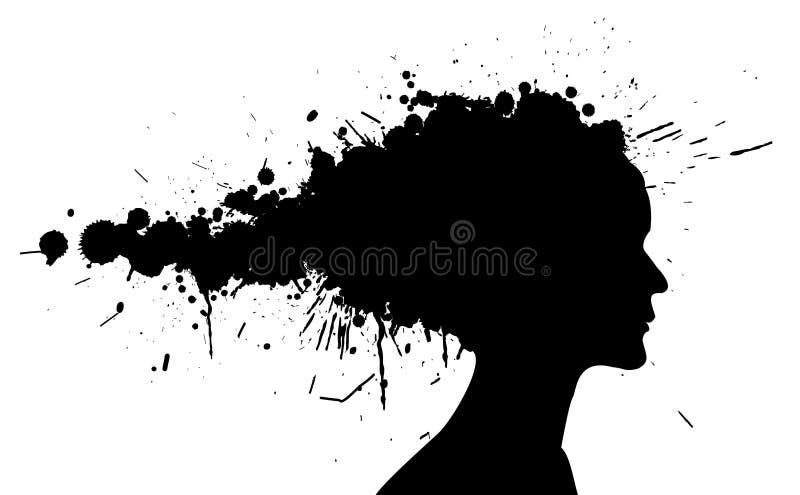 Silhueta da menina de Grunge ilustração stock