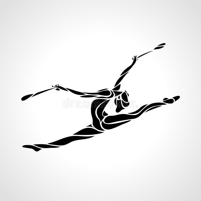 Silhueta da menina ginástica rítmica da arte com clubes ilustração do vetor