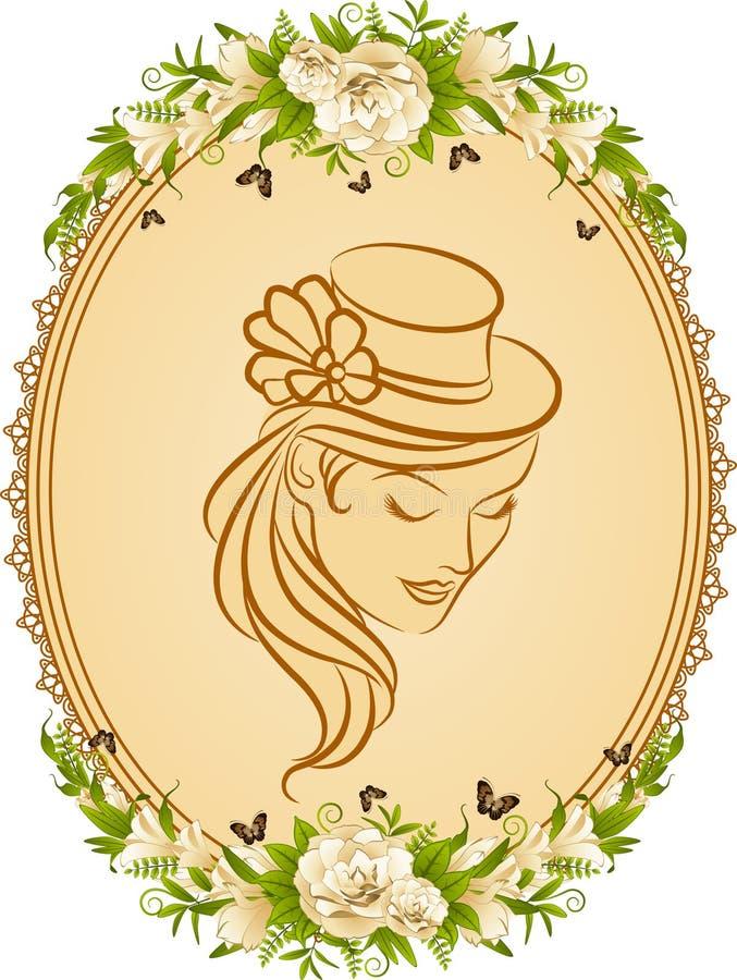 Silhueta da menina no chapéu e nas flores. ilustração do vetor