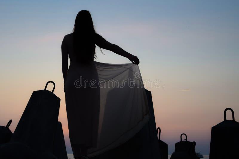 Silhueta da menina no por do sol fotos de stock royalty free