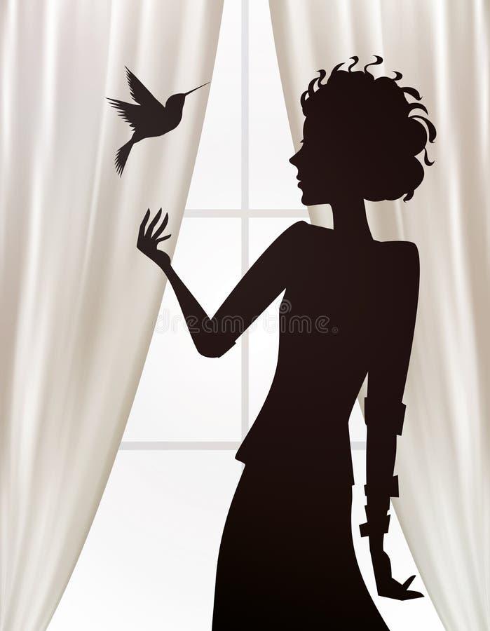 Silhueta da menina que olha um colibri voar ilustração do vetor
