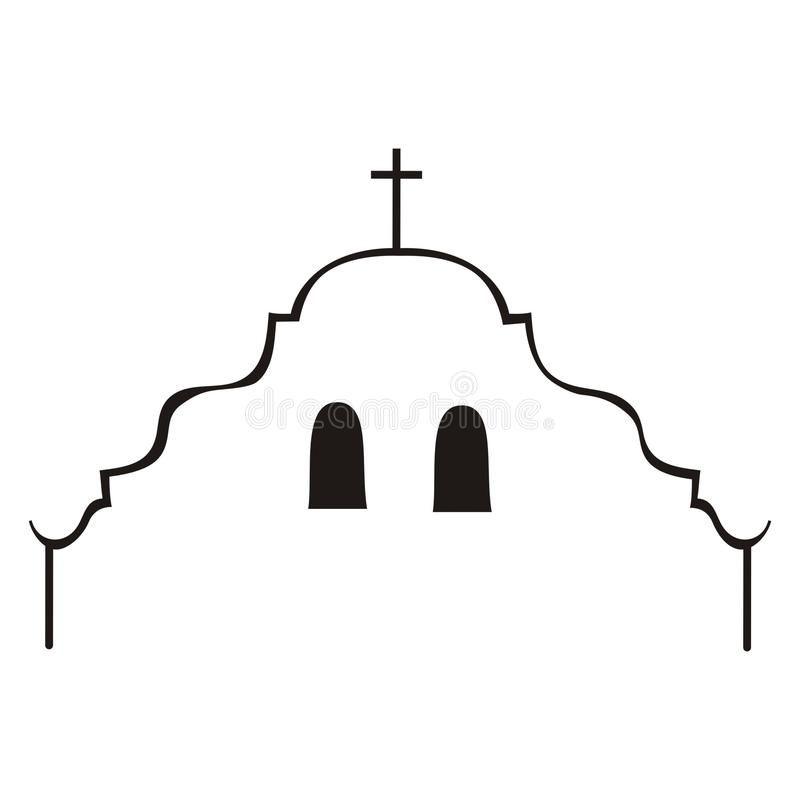 Silhueta da missão de Califórnia ilustração stock