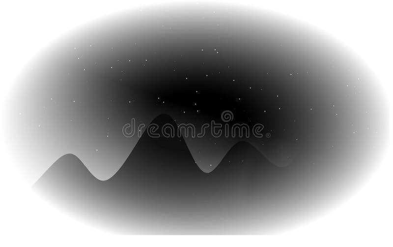 A silhueta da montanha é uma ilustração do vetor com estrela de brilho imagem de stock royalty free