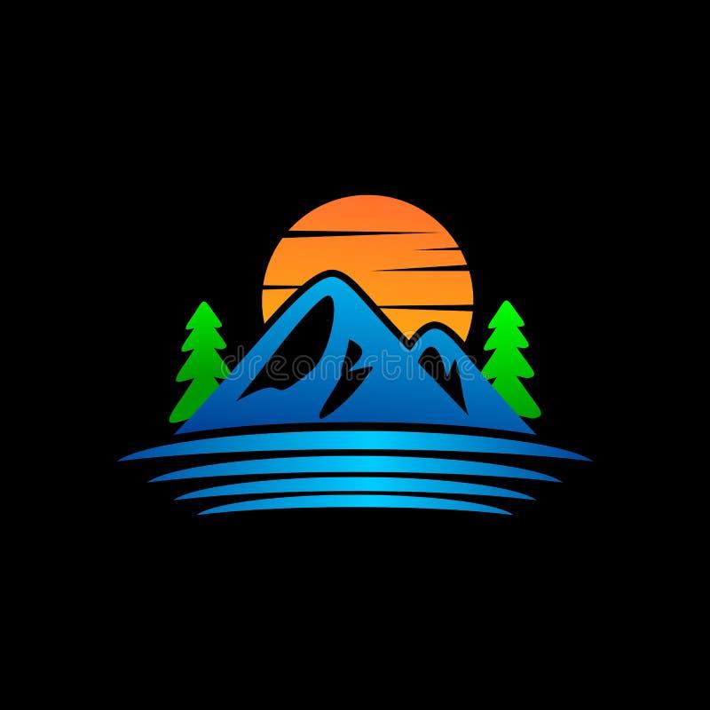 Silhueta da montanha do projeto moderno do logotipo ilustração royalty free