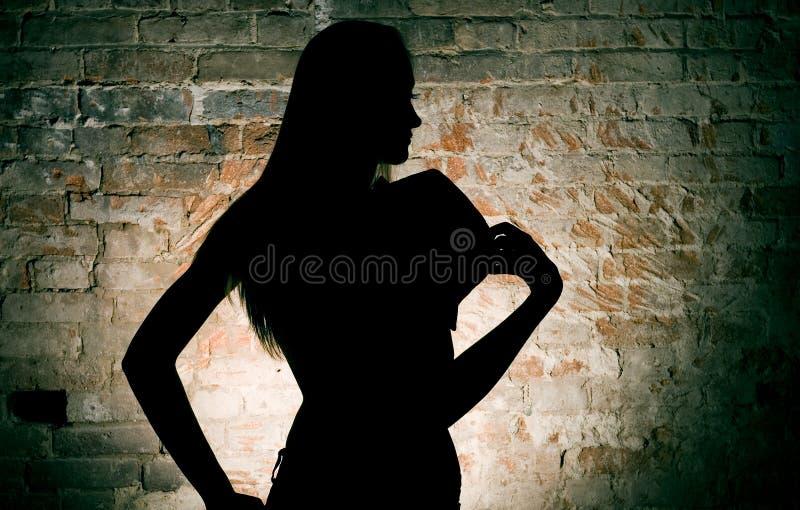 Silhueta da mulher fotografia de stock