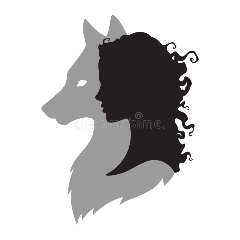 Silhueta da mulher bonita com a sombra do lobo isolada Ilustração do vetor do projeto da etiqueta, da cópia ou da tatuagem Totem  ilustração stock