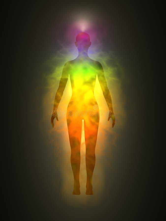 Silhueta da mulher com aura, chakras, energia ilustração do vetor