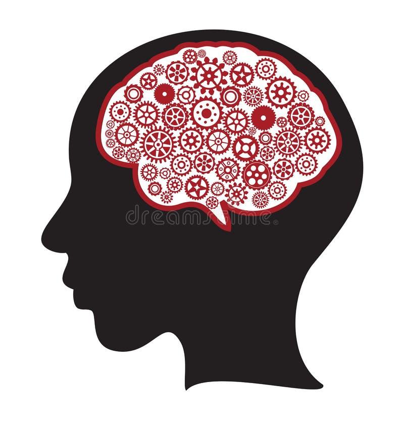 Silhueta da mulher com cérebro de pensamento ilustração do vetor