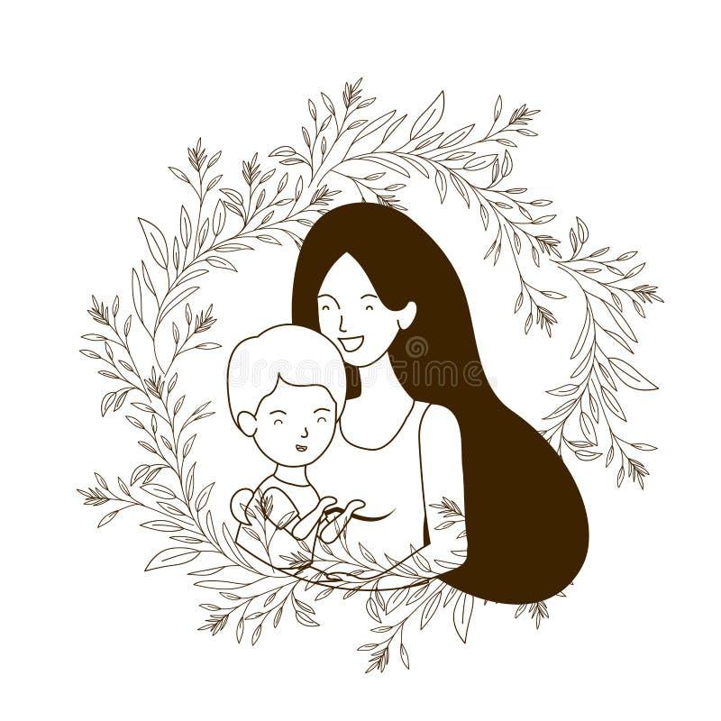Silhueta da mulher com caráter do avatar do bebê ilustração royalty free