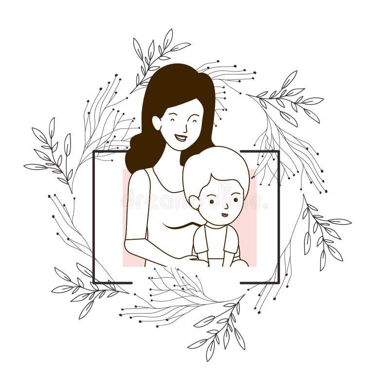 Silhueta da mulher com caráter do avatar do bebê ilustração do vetor