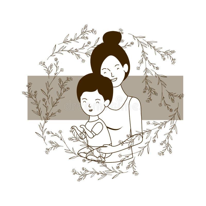 Silhueta da mulher com caráter do avatar do bebê ilustração stock