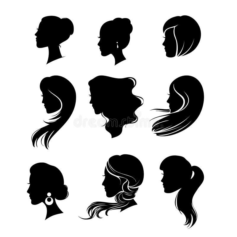 Silhueta da mulher com denominação do cabelo ilustração stock