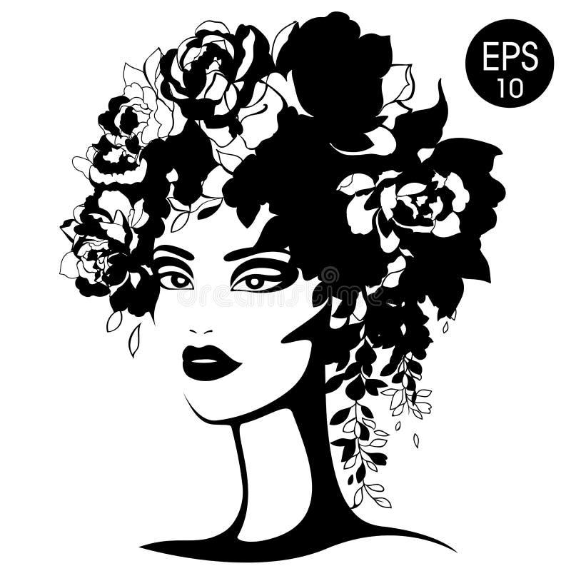 Silhueta da mulher com flores Retrato da forma do vetor Silhueta preto e branco ilustração royalty free