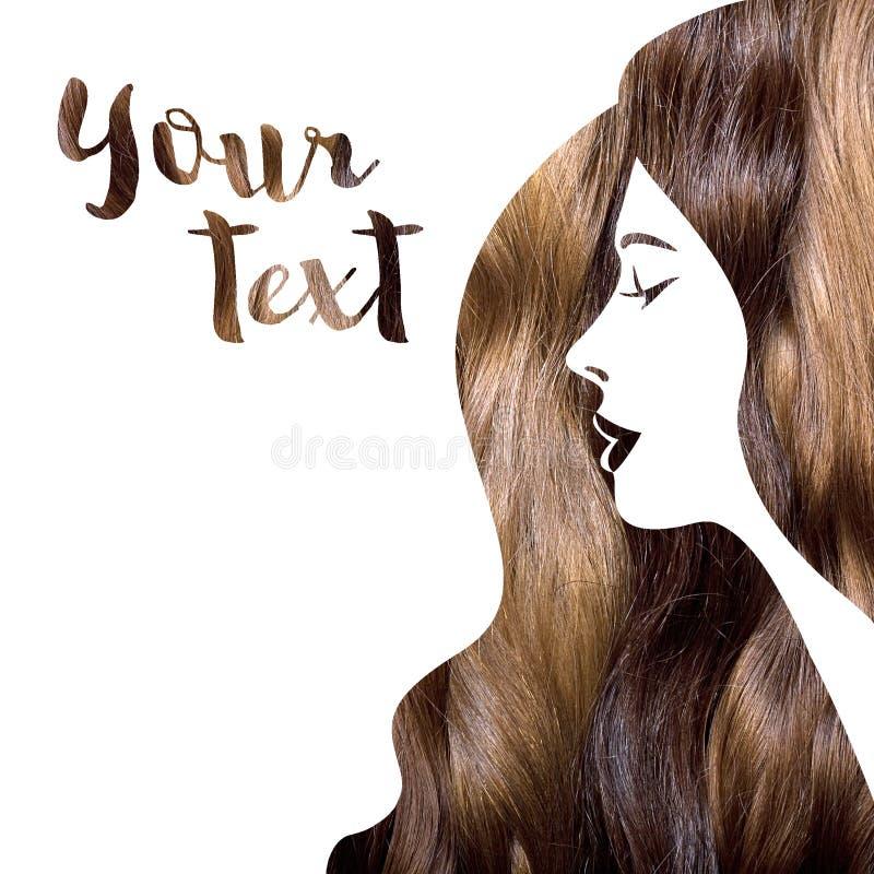 Silhueta da mulher com foto de um cabelo ilustração do vetor