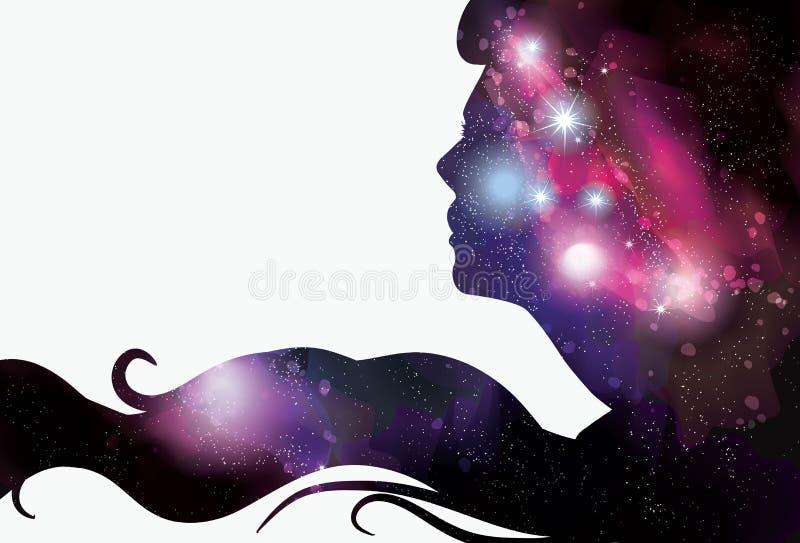 A silhueta da mulher com fundo do spacy ilustração stock