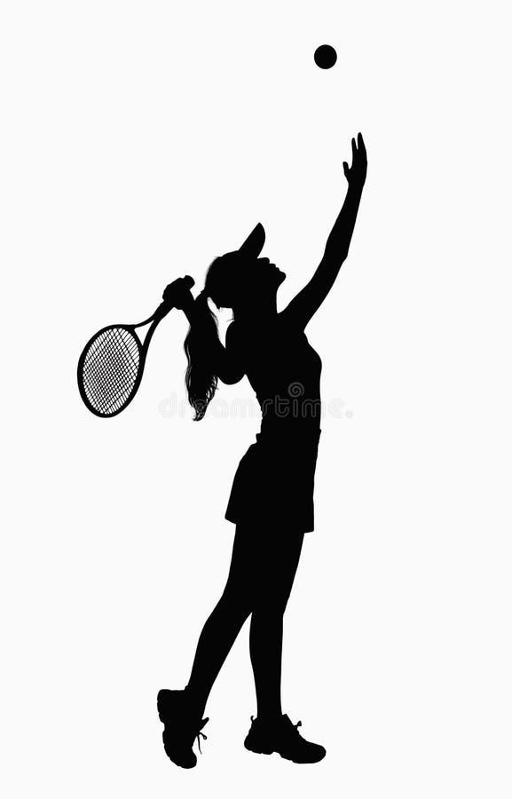 Silhueta da mulher com raquete de tênis, servindo. imagens de stock royalty free