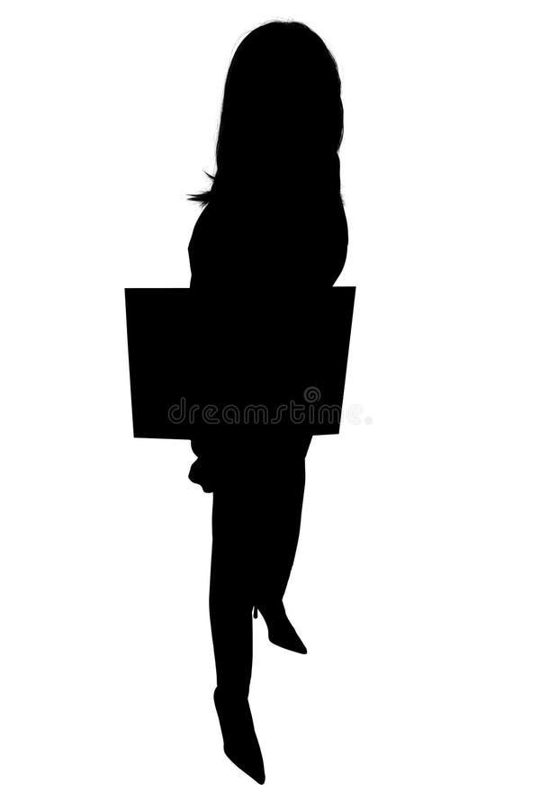 Silhueta da mulher com sinal ilustração royalty free