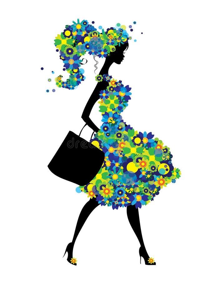 A silhueta da mulher da compra com as flores verdes e azuis veste-se isolado ilustração stock