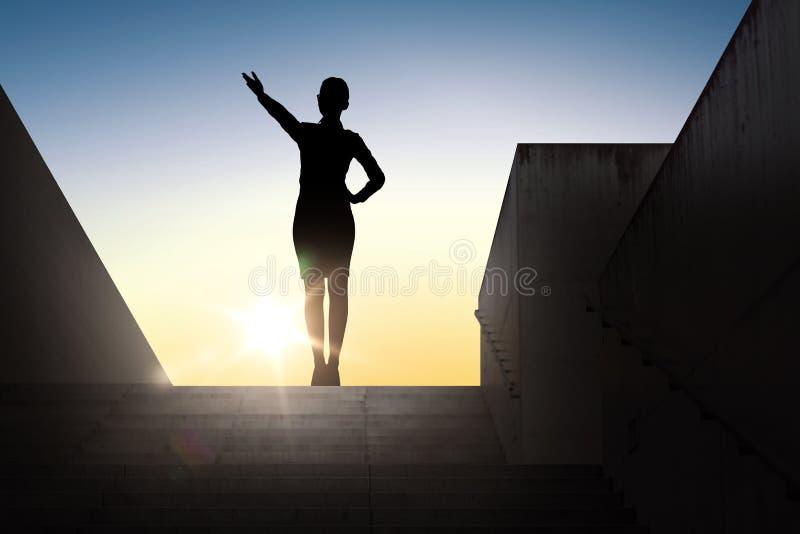 Silhueta da mulher de negócio que aponta a mão ilustração do vetor