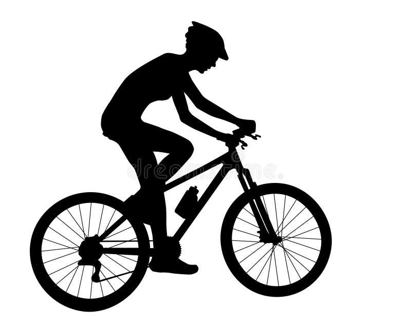 Silhueta da mulher do ciclista ilustração royalty free
